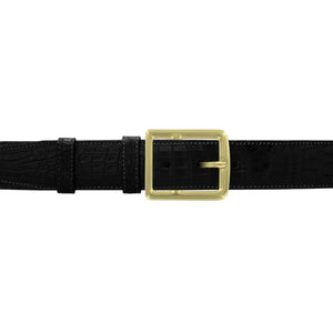 "1 1/2"" Black Classic Belt with Crawford Casual Buckle in Brass"
