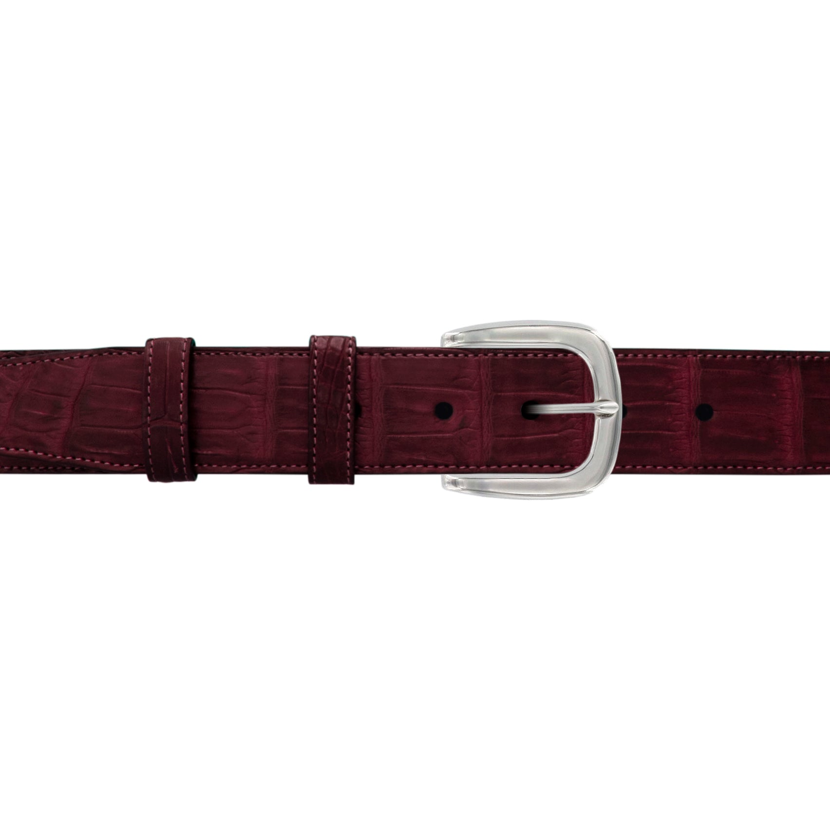"1 1/2"" Burgundy Seasonal Belt with Oxford Cocktail Buckle in Polished Nickel"