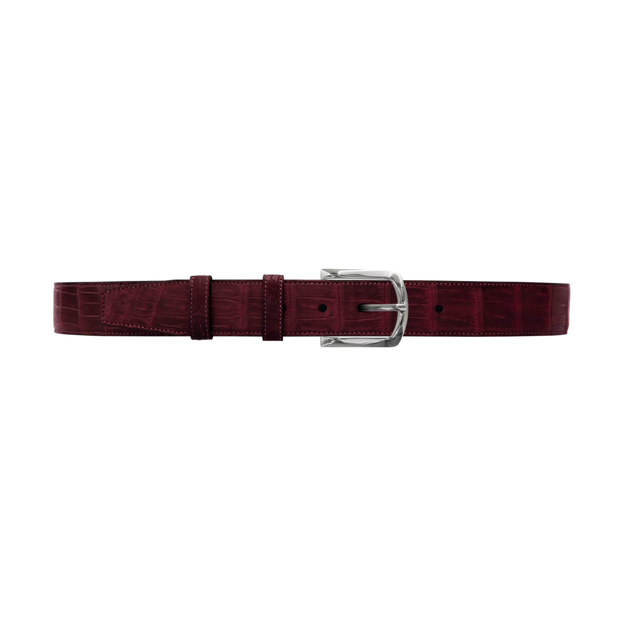 "1 1/2"" Burgundy Seasonal Belt with Sutton Dress Buckle in Polished Nickel"