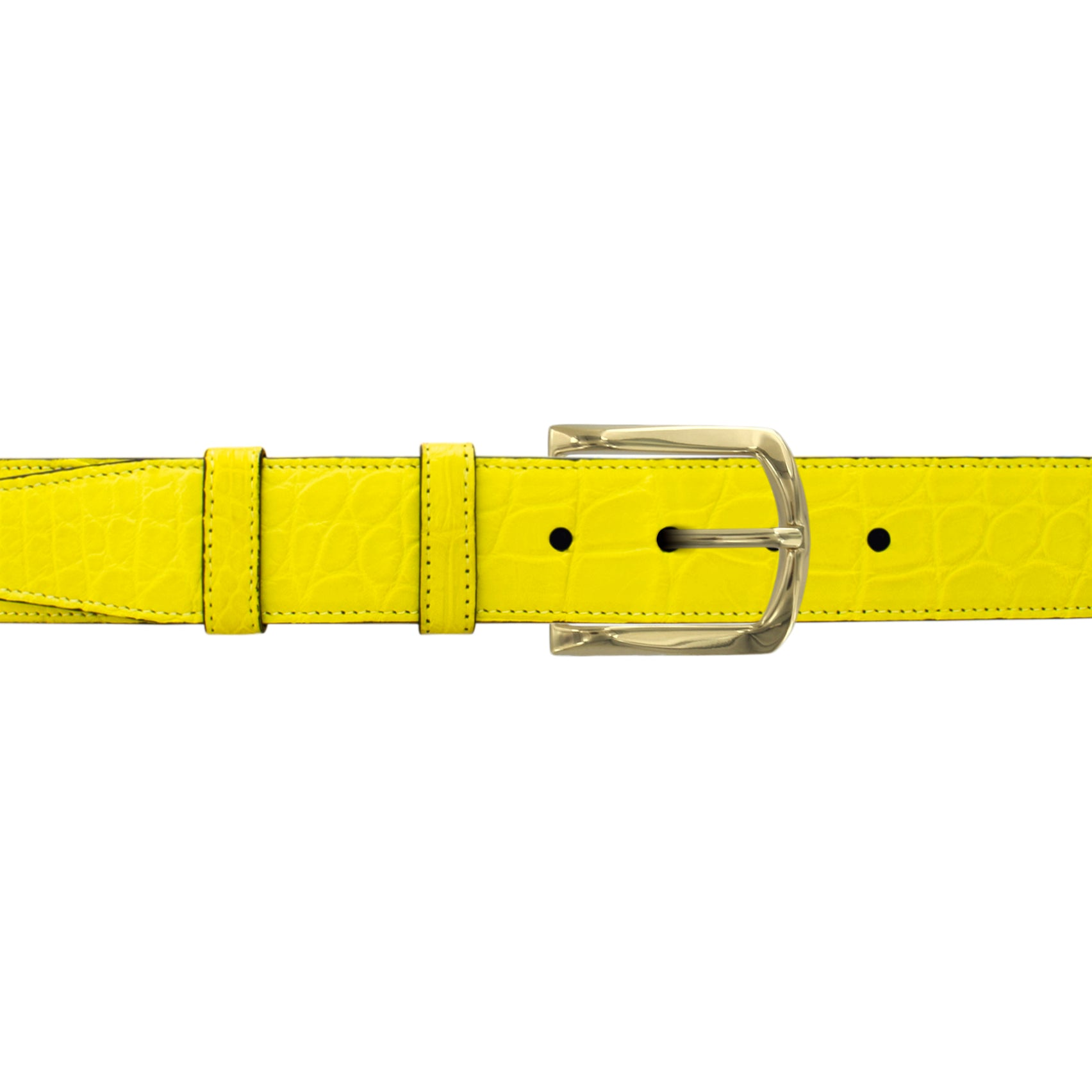 "1 1/2"" Canary Seasonal Belt with Oxford Cocktail Buckle in Brass"