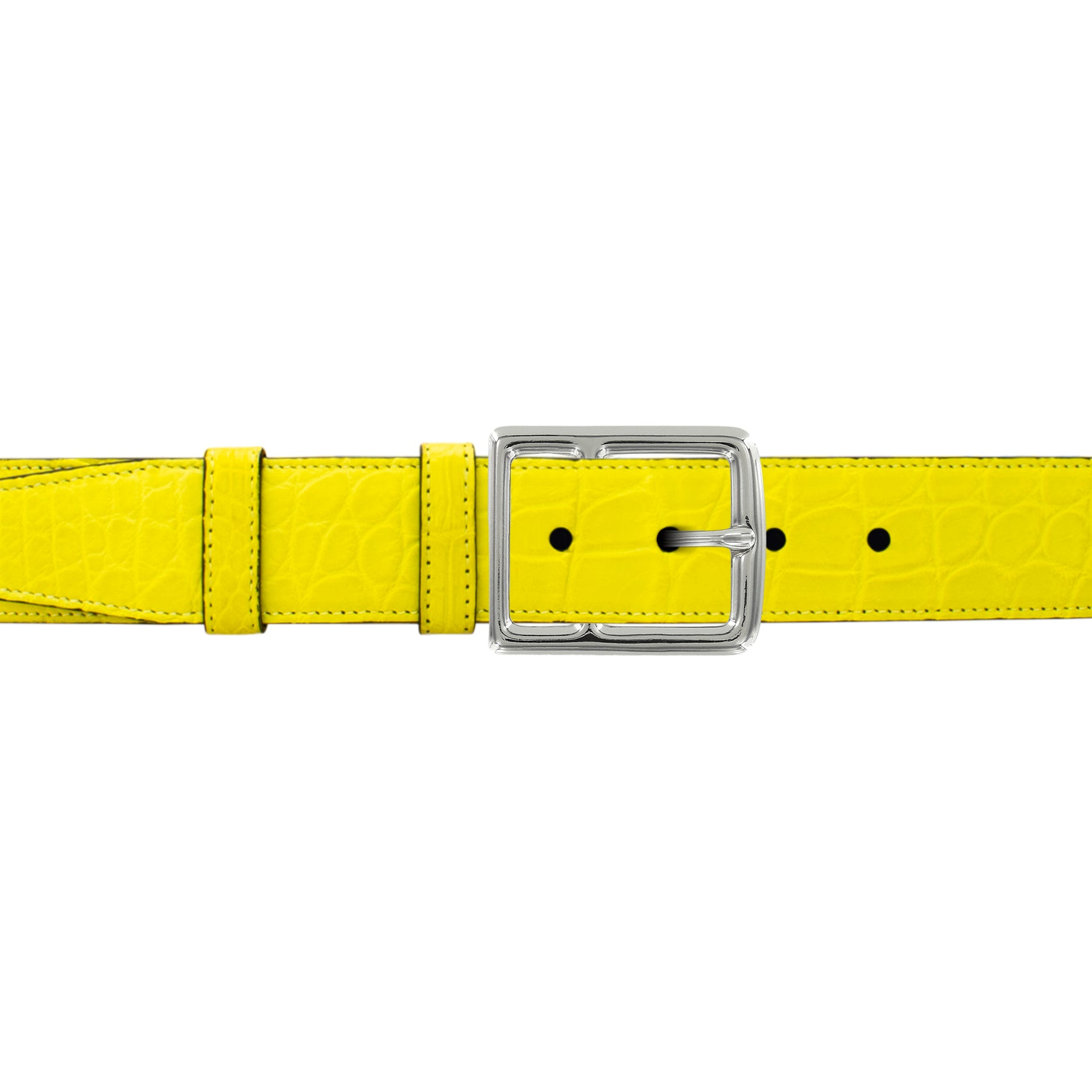 "1 1/2"" Canary Seasonal Belt with Crawford Casual Buckle in Polished Nickel"