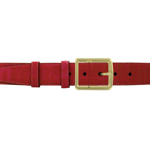 "1 1/2"" Cherry Seasonal Belt with Crawford Casual Buckle in Brass"