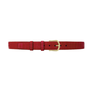 "1 1/2"" Cherry Seasonal Belt with Derby Cocktail Buckle in Brass"