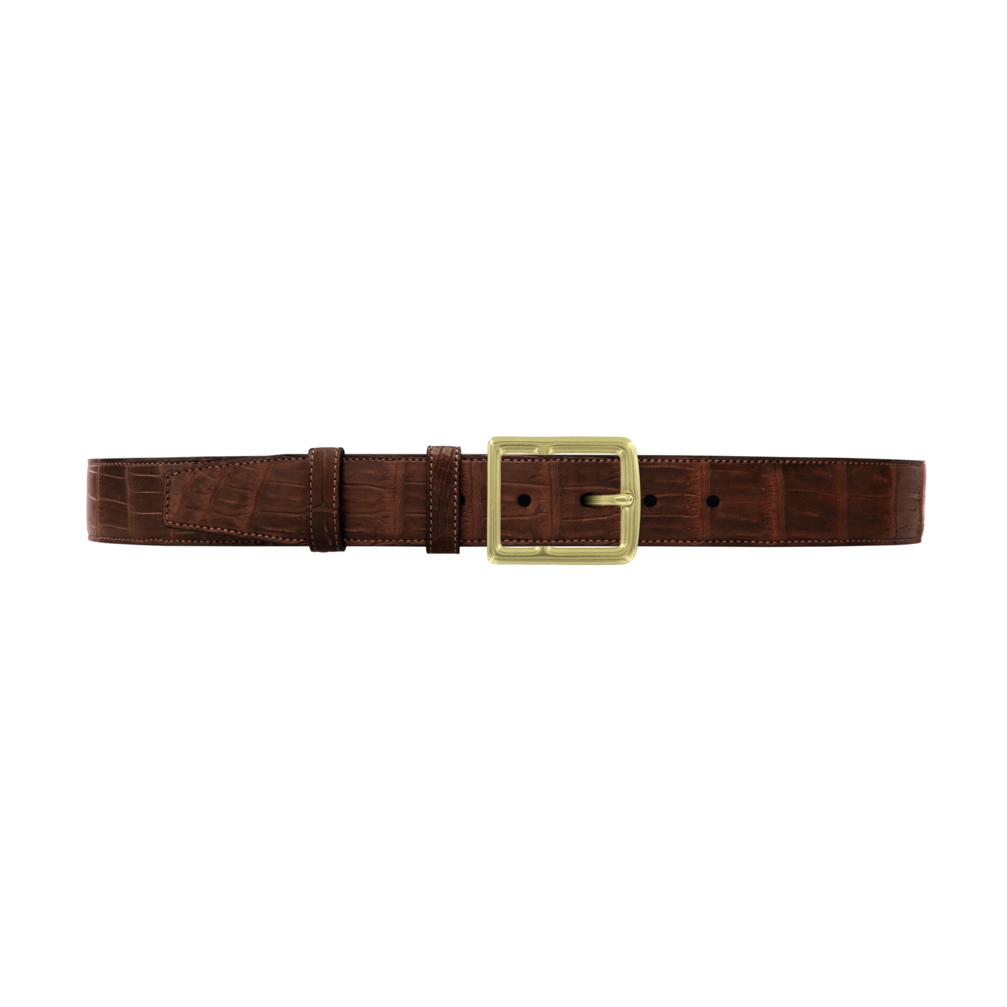 "1 1/2"" Cognac Classic Belt with Crawford Casual Buckle in Brass"