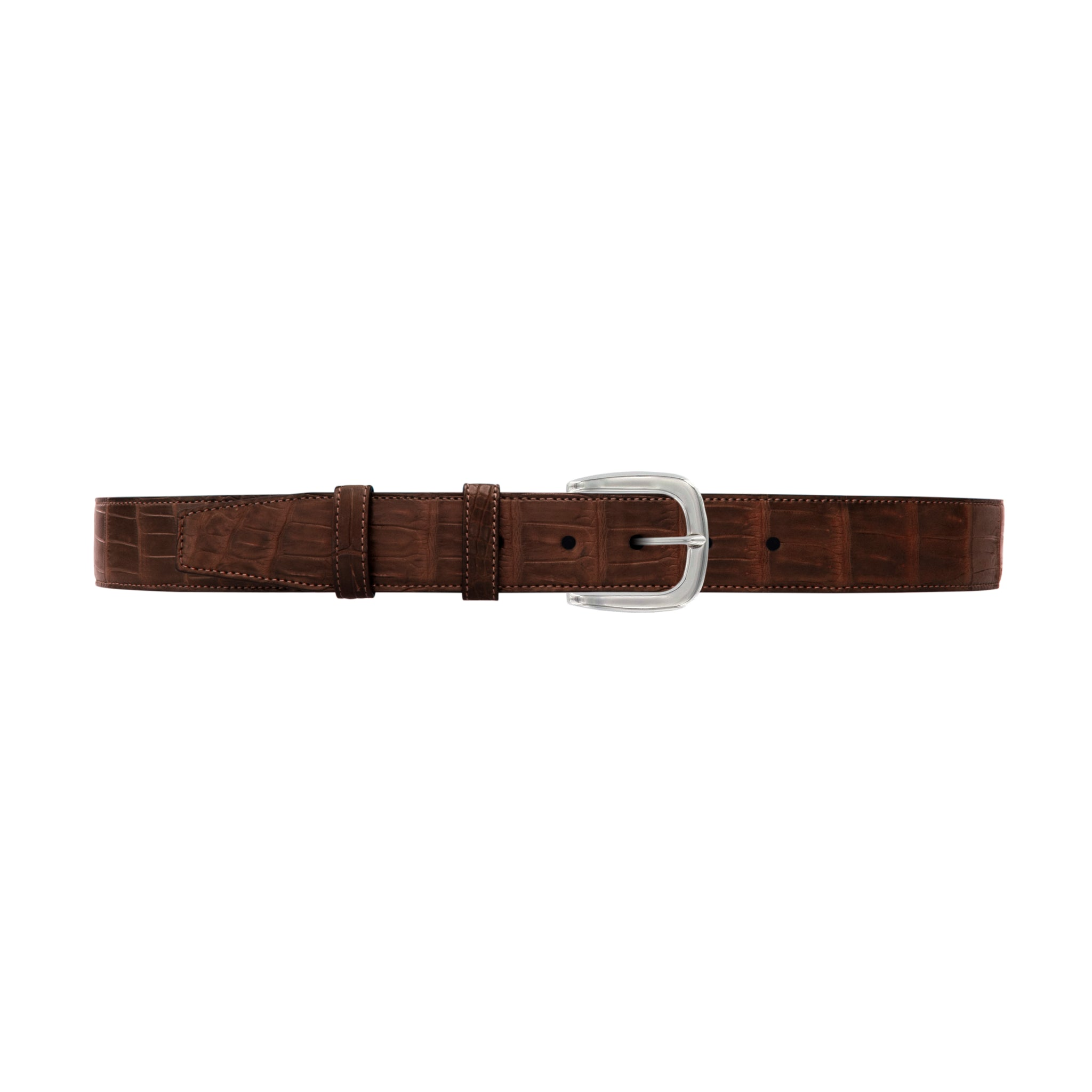 "1 1/2"" Cognac Classic Belt with Oxford Cocktail Buckle in Polished Nickel"