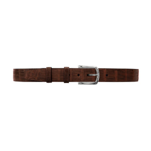 "1 1/2"" Cognac Classic Belt with Sutton Dress Buckle in Polished Nickel"