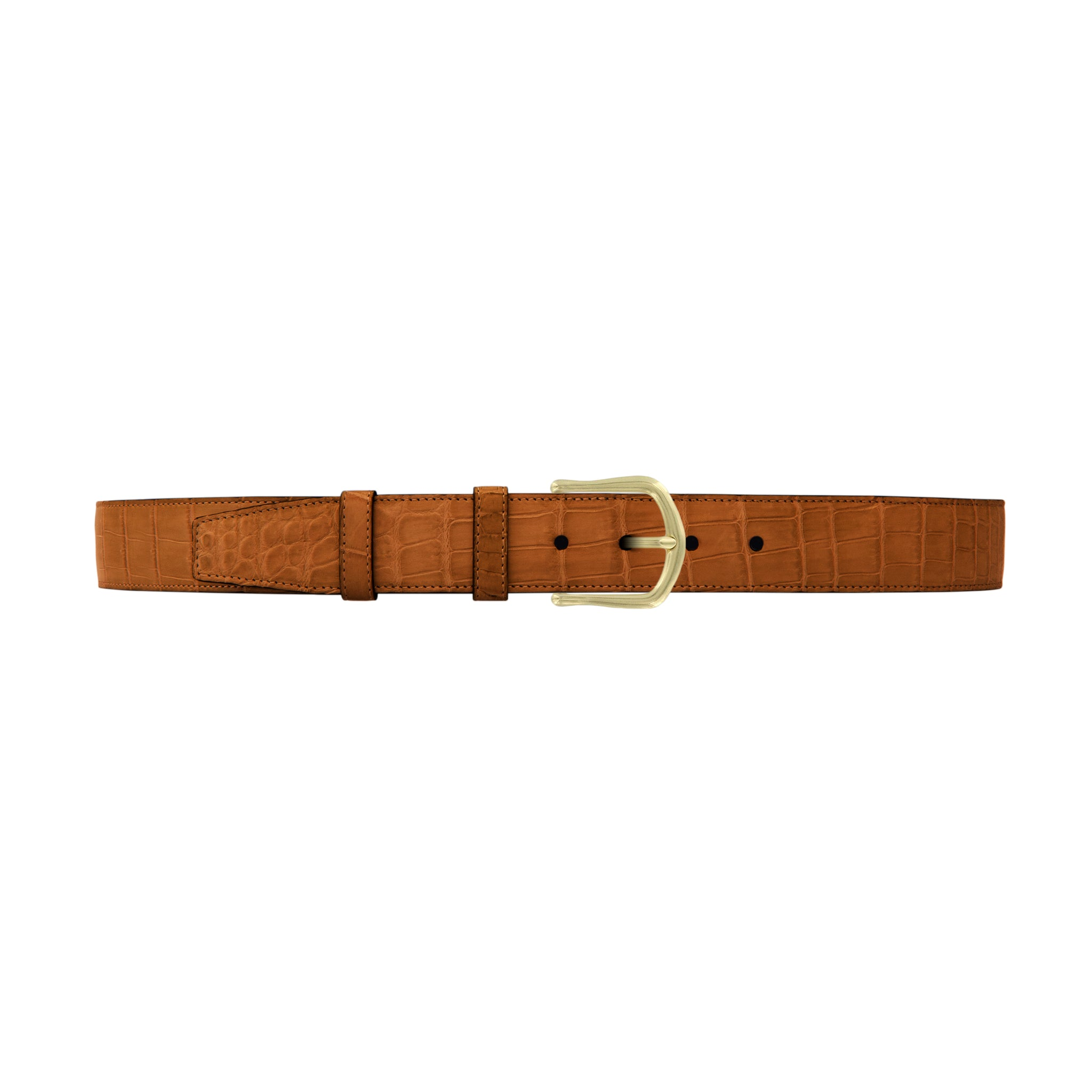 "1 1/2"" Dark Sand Classic Belt with Regis Dress Buckle in Brass"