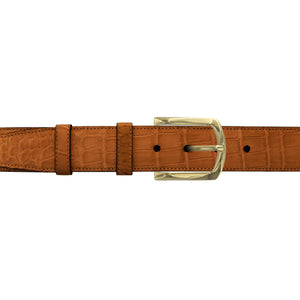 "1 1/2"" Dark Sand Classic Belt with Sutton Dress Buckle in Brass"