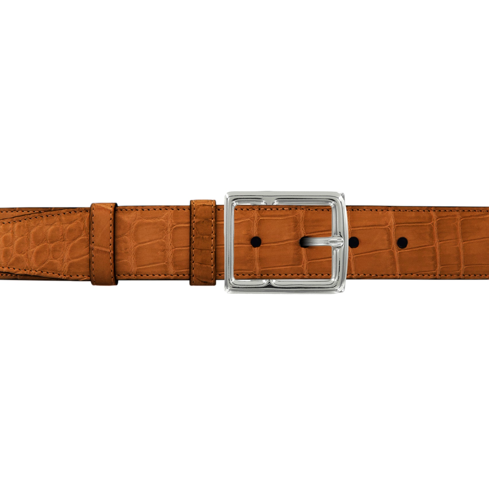 "1 1/2"" Dark Sand Classic Belt with Crawford Casual Buckle in Polished Nickel"