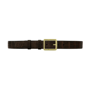 "1 1/2"" Espresso Classic Belt with Crawford Casual Buckle in Brass"