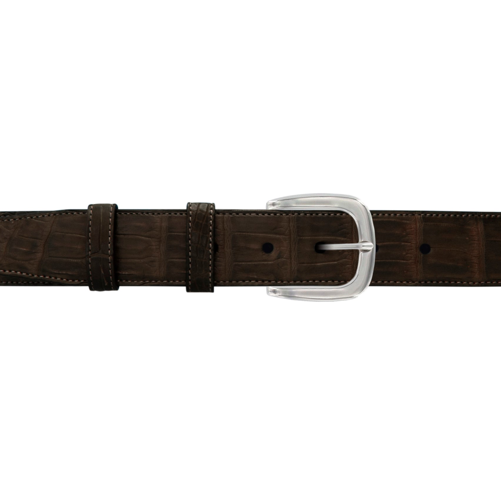 "1 1/2"" Espresso Classic Belt with Oxford Cocktail Buckle in Polished Nickel"