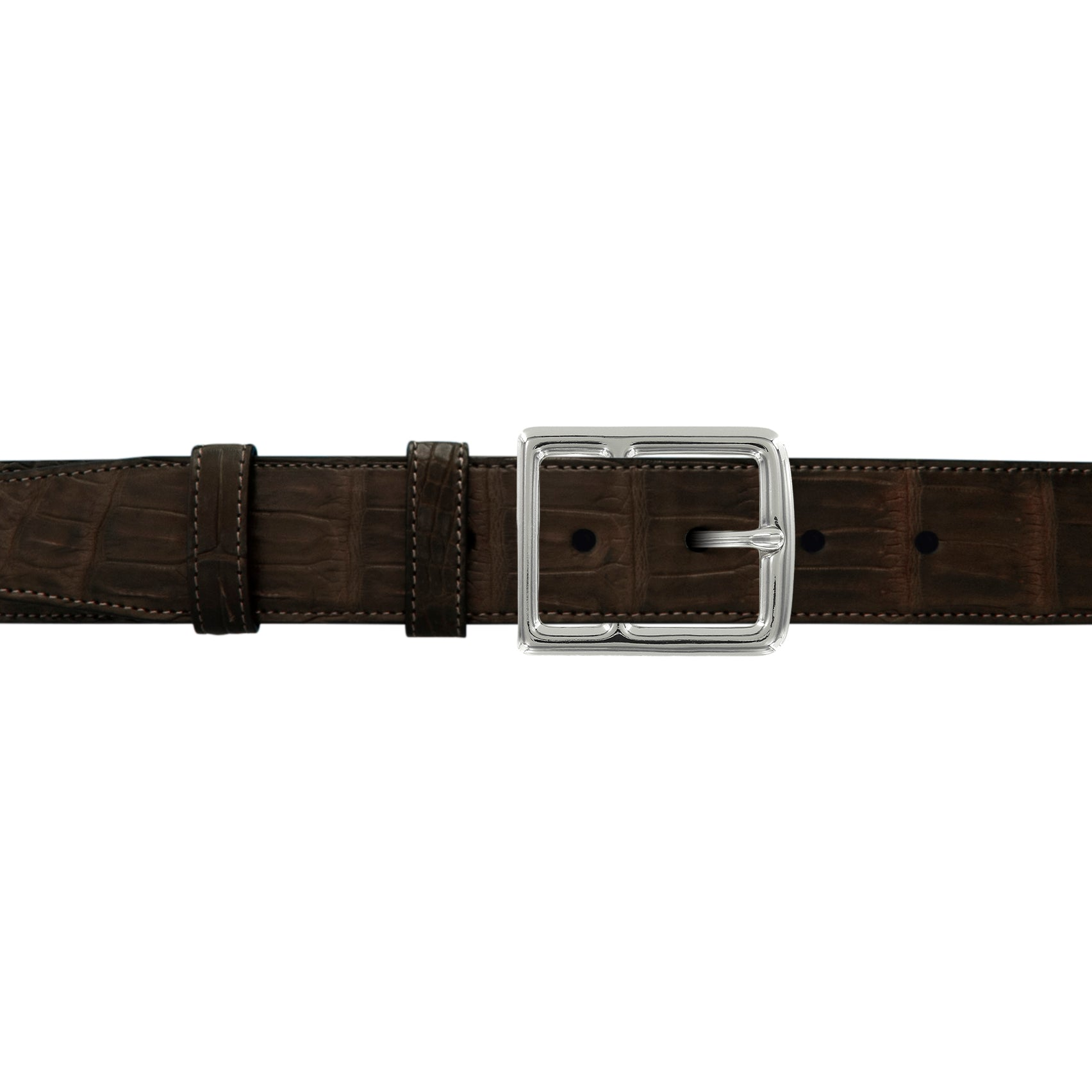 "1 1/2"" Espresso Classic Belt with Crawford Casual Buckle in Polished Nickel"