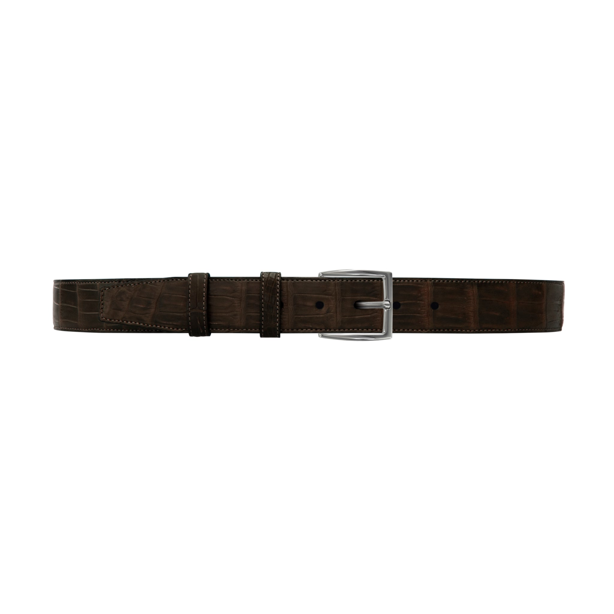 "1 1/2"" Espresso Classic Belt with Winston Dress Buckle in Polished Nickel"