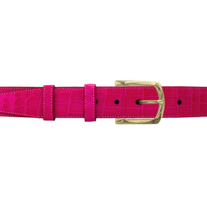 "1 1/2"" Fuchsia Seasonal Belt with Sutton Dress Buckle in Polished Nickel"
