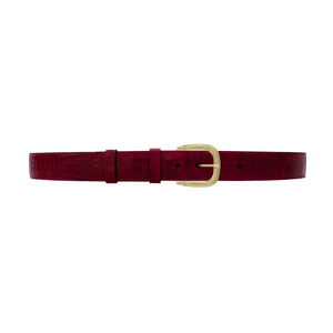 "1 1/2"" Garnet Seasonal Belt with Oxford Cocktail Buckle in Brass"