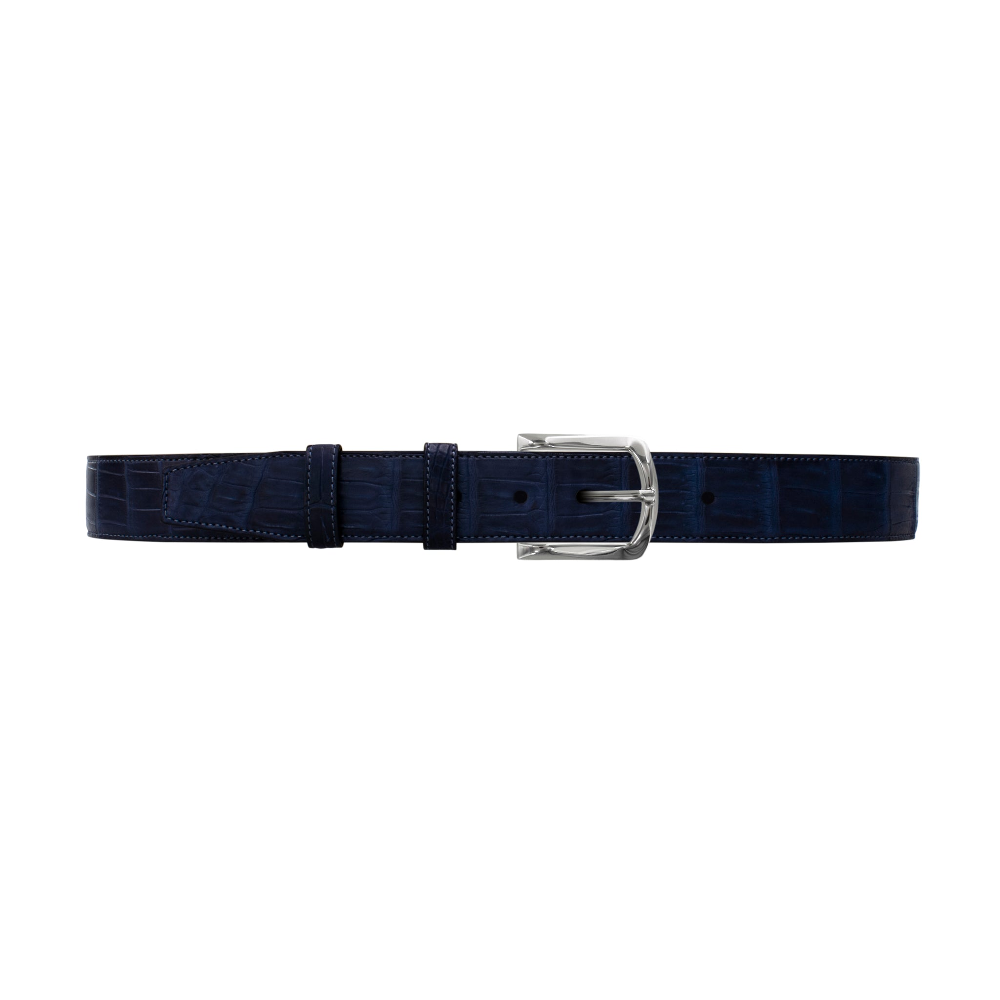 "1 1/2"" Midnight Classic Belt with Sutton Dress Buckle in Polished Nickel"