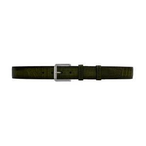 "1 1/2"" Olive Patina Belt with Austin Casual Buckle in Matt Nickel"