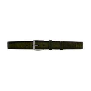 "1 1/2"" Olive Patina Belt with Winston Dress Buckle in Polished Nickel"
