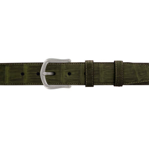 "1 1/2"" Olive Seasonal Belt with Derby Cocktail Buckle in Matt Nickel"