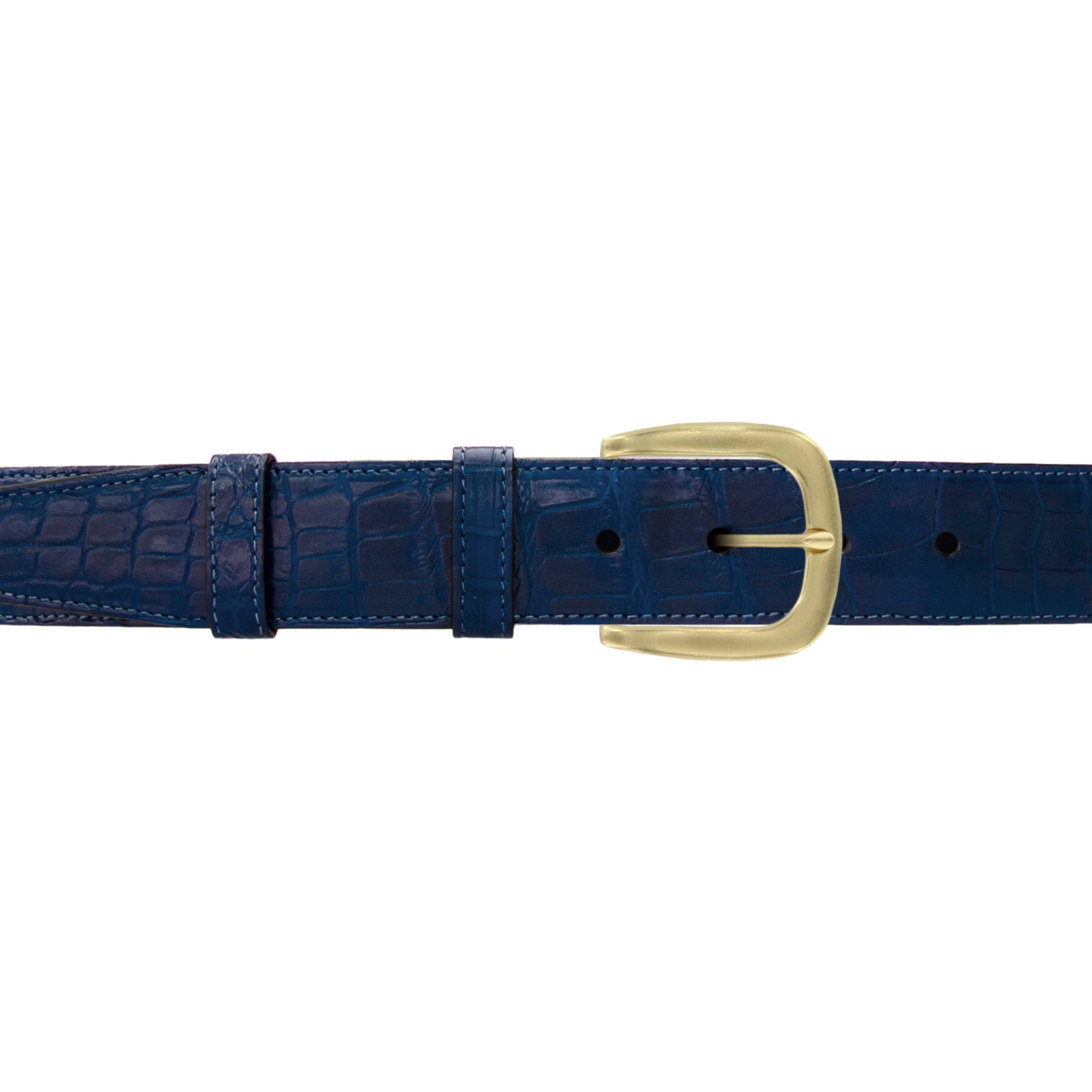 "1 12"" Royal Seasonal Belt with Oxford Cocktail Buckle in Brass"