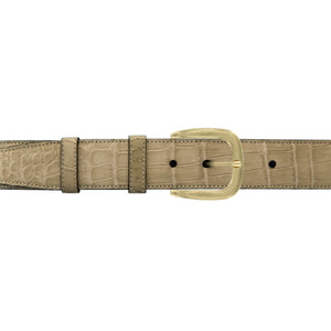 "1 1/2"" Sand Classic Belt with Oxford Cocktail Buckle in Brass"