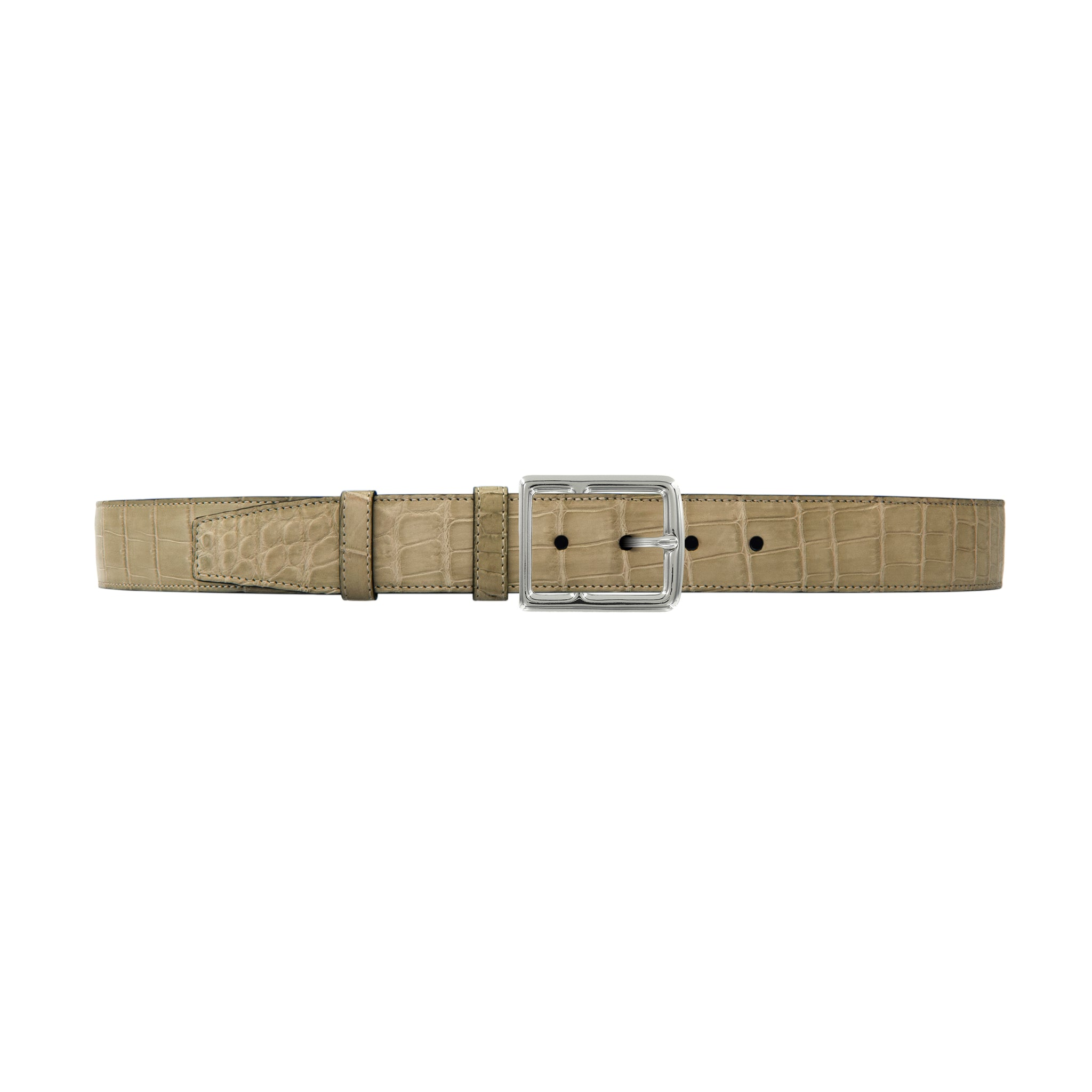 "1 1/2"" Sand Classic Belt with Crawford Casual Buckle in Polished Nickel"