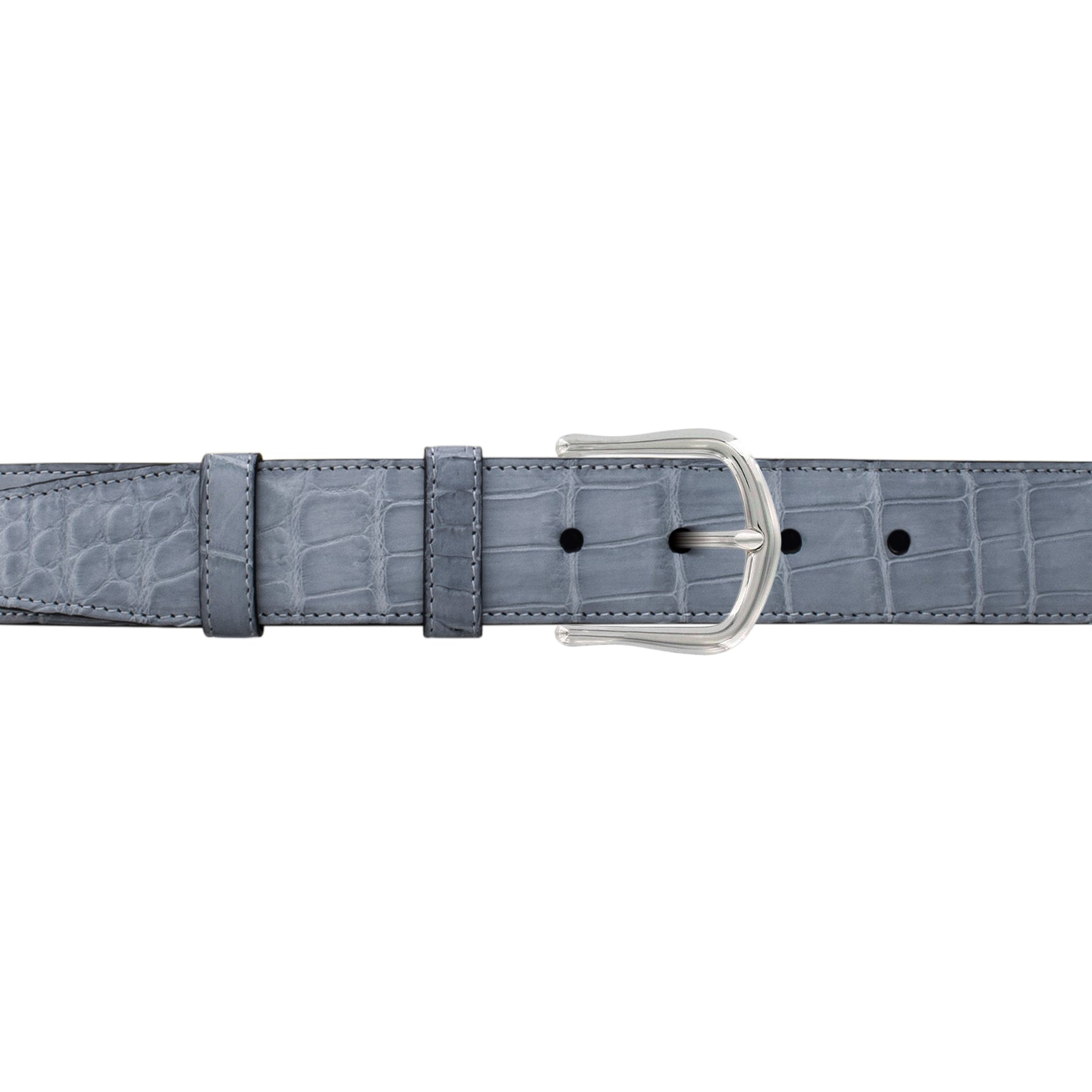 "1 1/2"" Slate Seasonal Belt with Derby Cocktail Buckle in Polished Nickel"