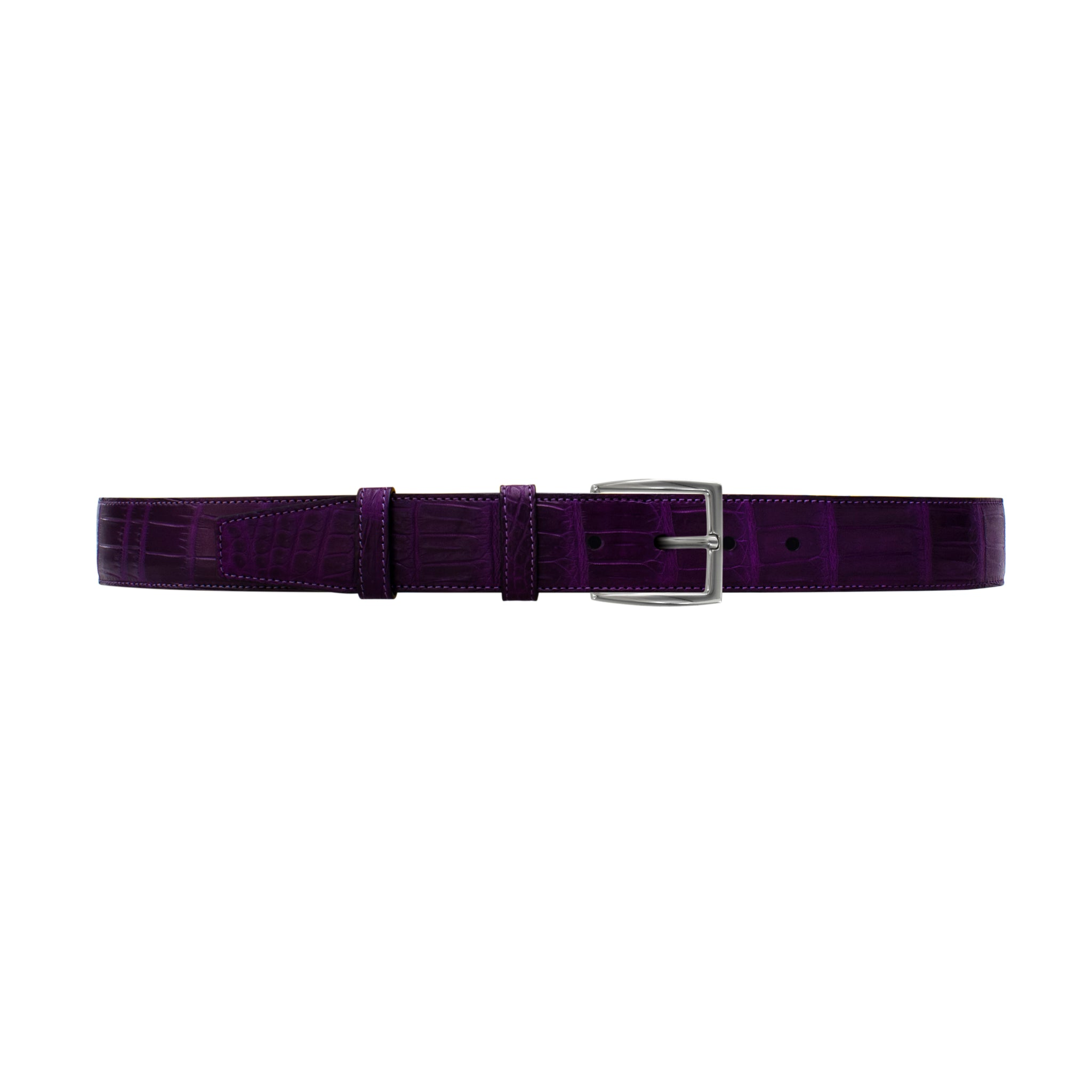 "1 1/2"" Violet Classic Belt with Winston Dress Buckle in Polished Nickel"