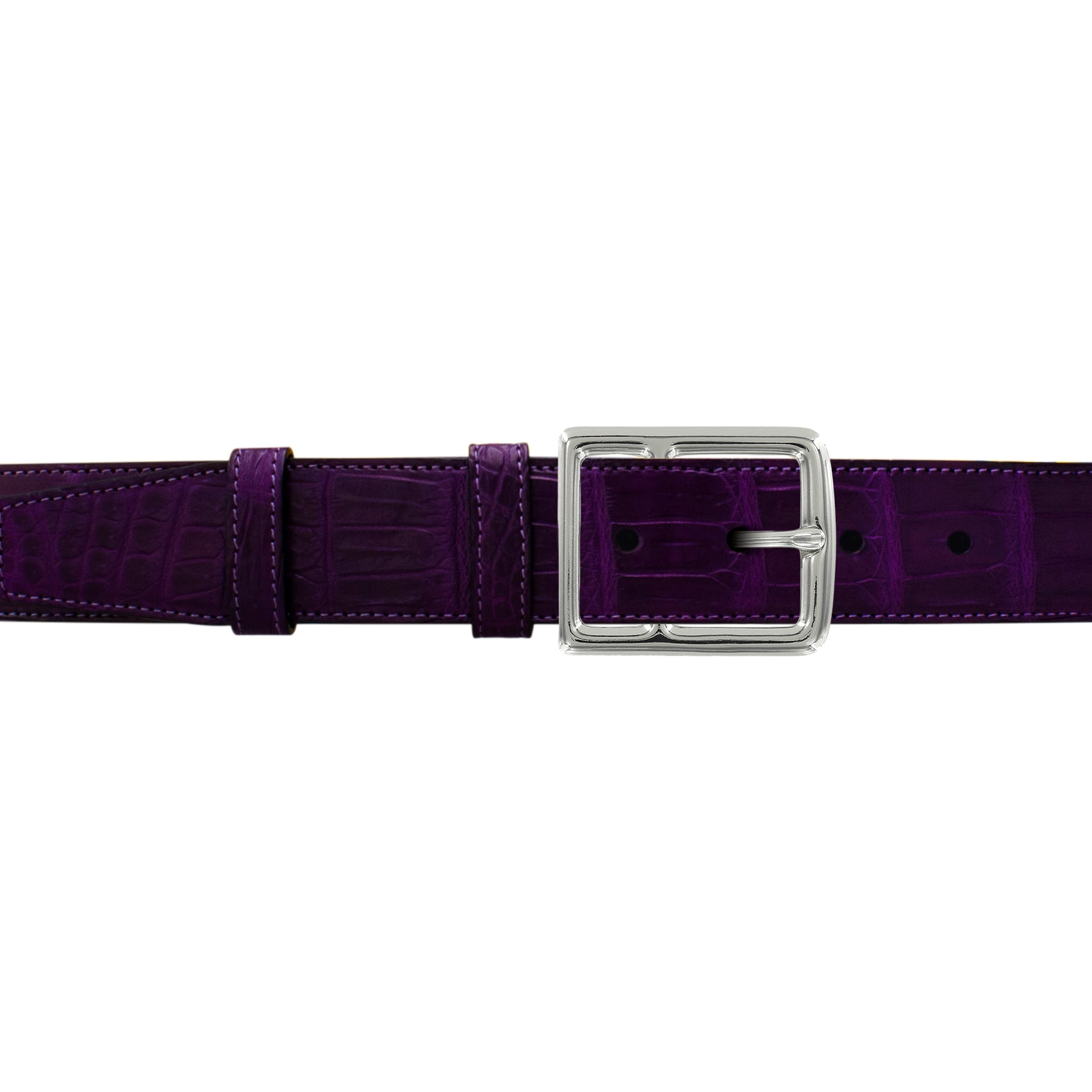 "1 1/2"" Violet Seasonal Belt with Crawford Casual Buckle in Polished Nickel"