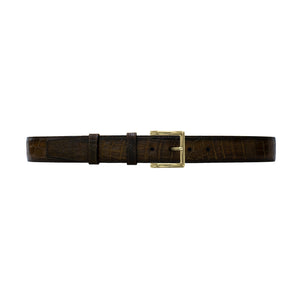 "1 1/2"" Walnut Patina Belt with Regis Dress Buckle in Brass"
