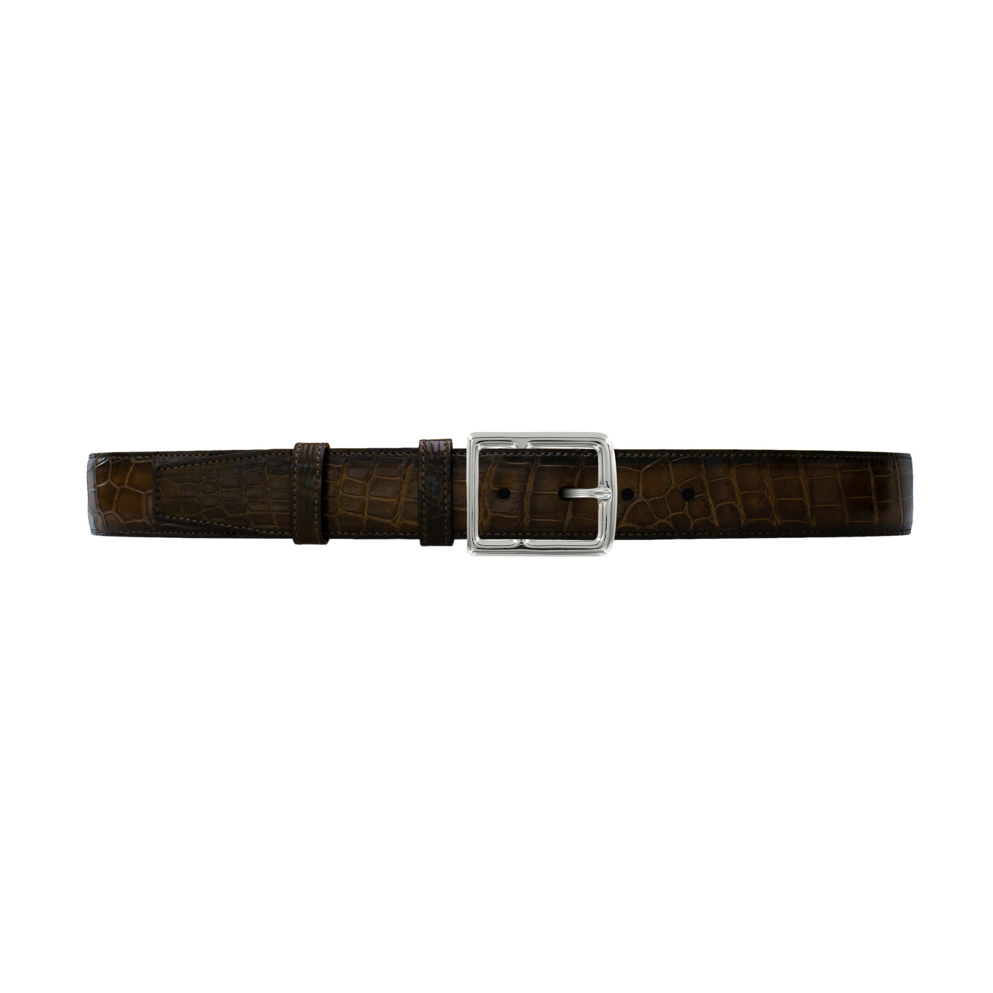 "1 1/2"" Walnut Patina Belt with Crawford Casual Buckle in Polished Nickel"