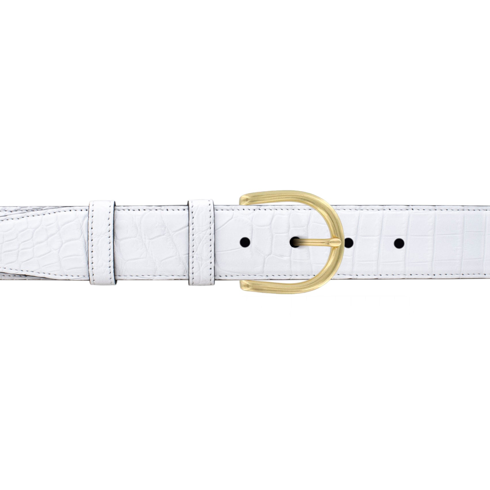 "1 12"" White Classic Belt with Denver Casual Buckle in Brass"