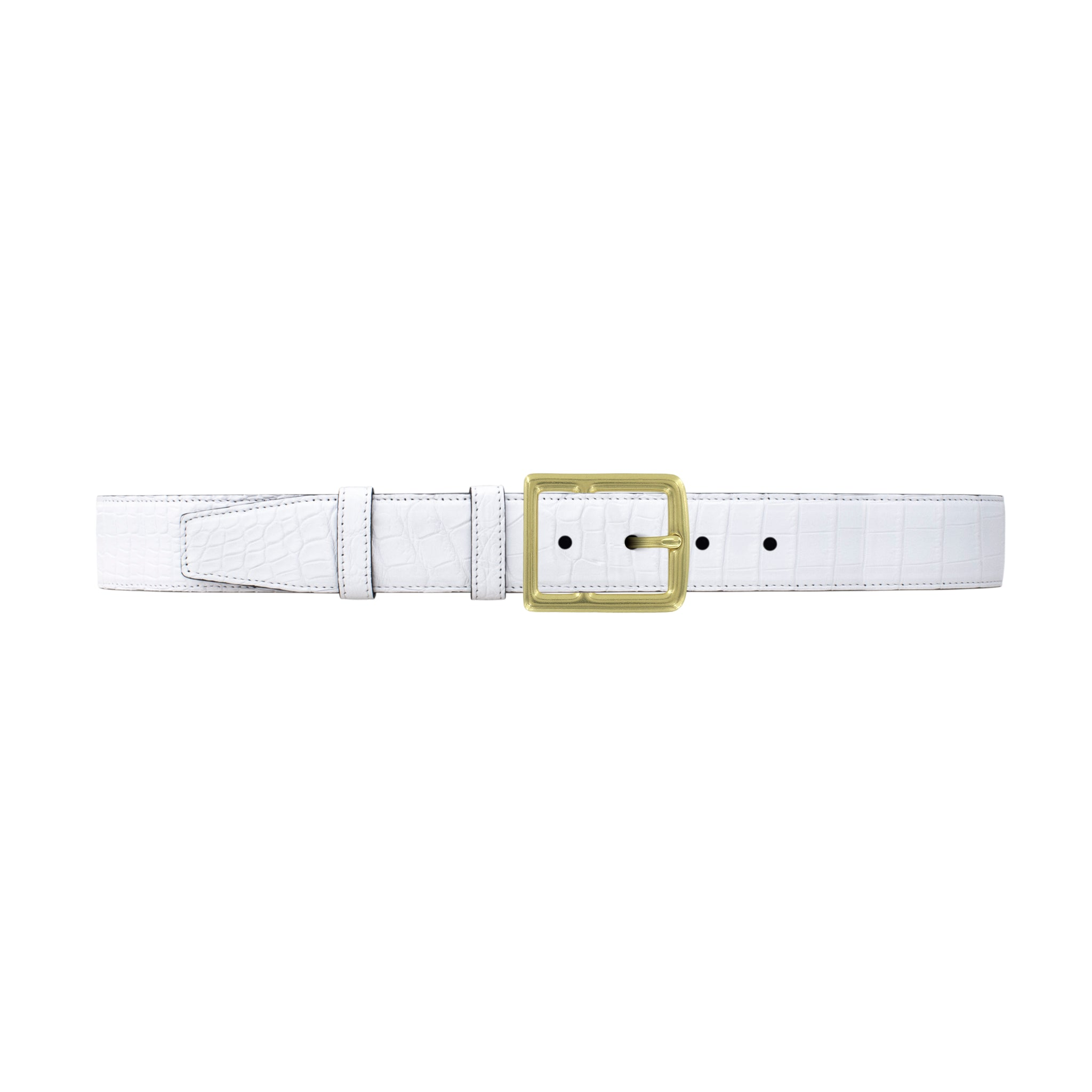 "1 1/2"" White Classic Belt with Crawford Casual Buckle in Brass"