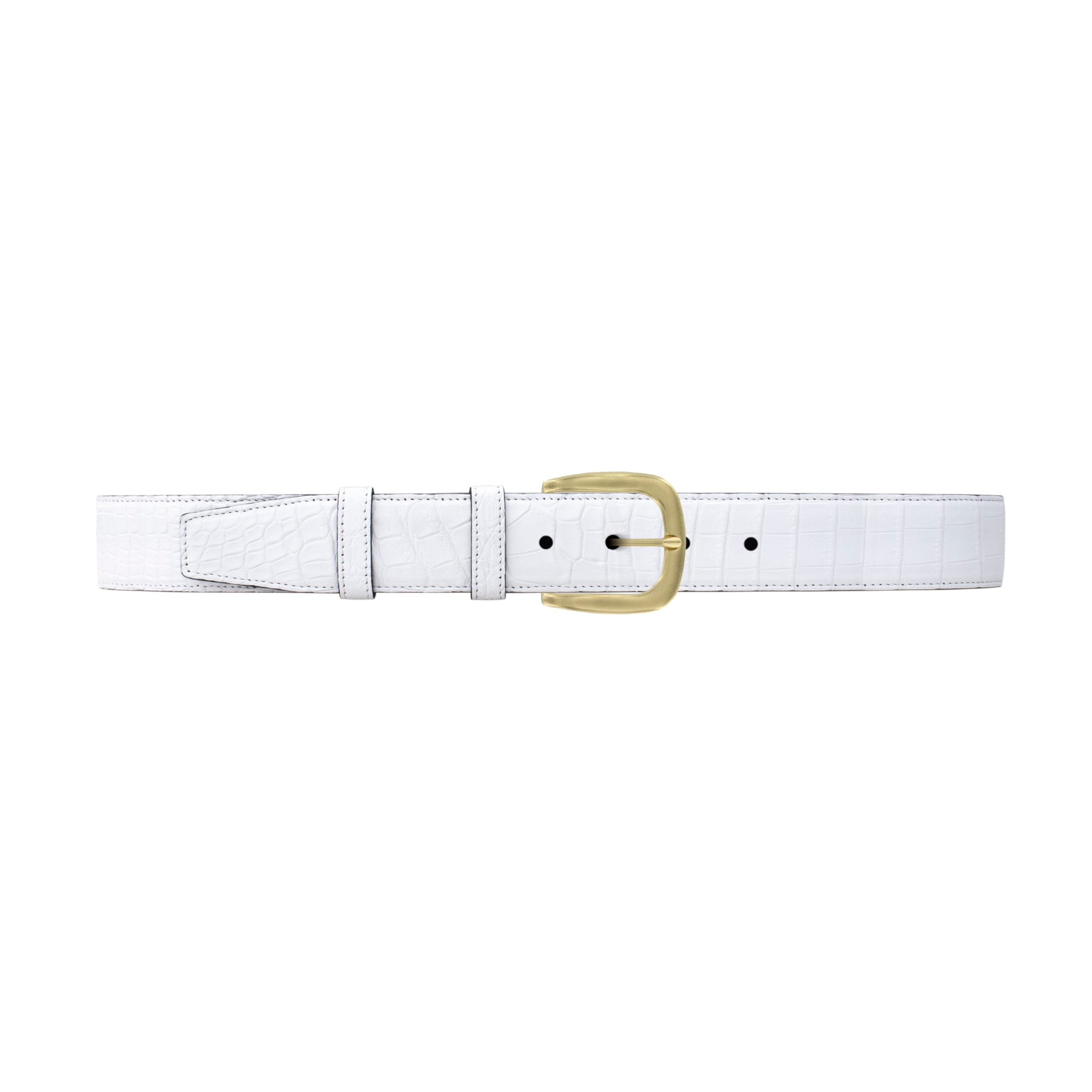 "1 1/2"" White Classic Belt with Oxford Cocktail Buckle in Brass"