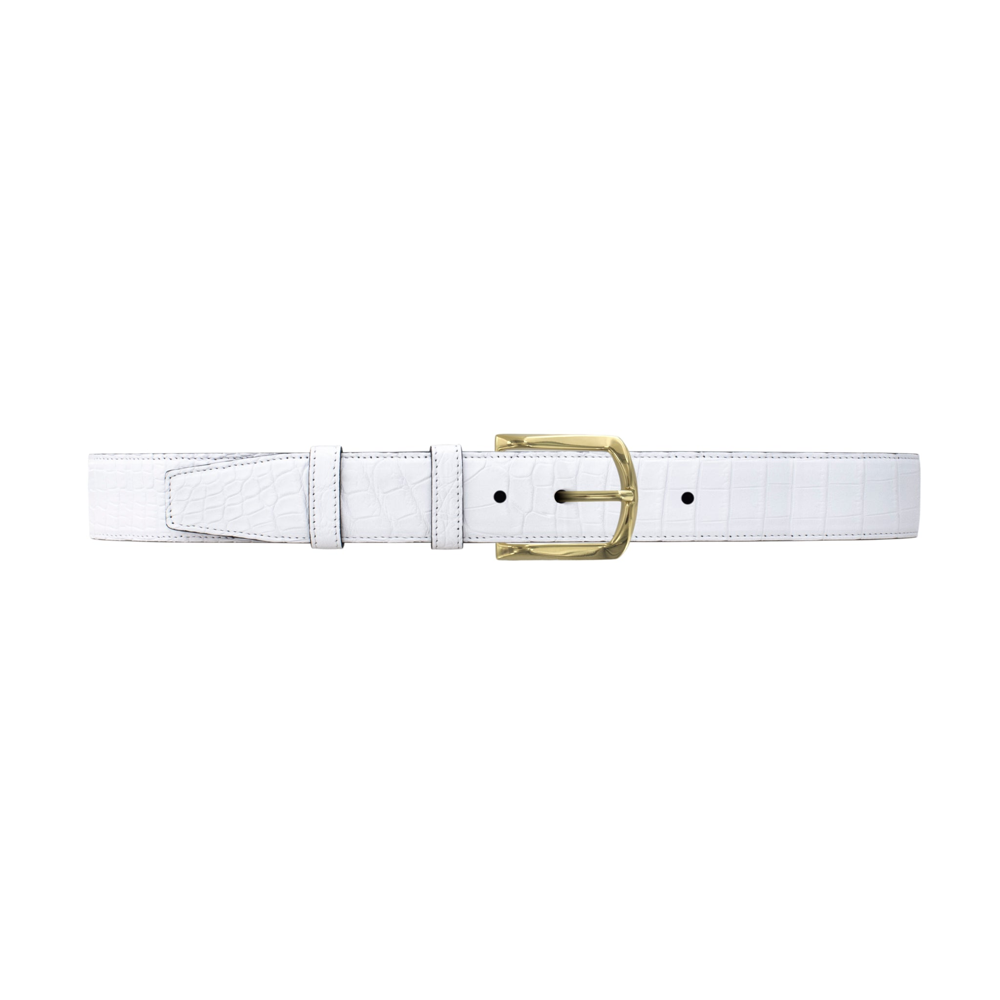 "1 1/2""  White Classic Belt with Sutton Dress Buckle in Brass"