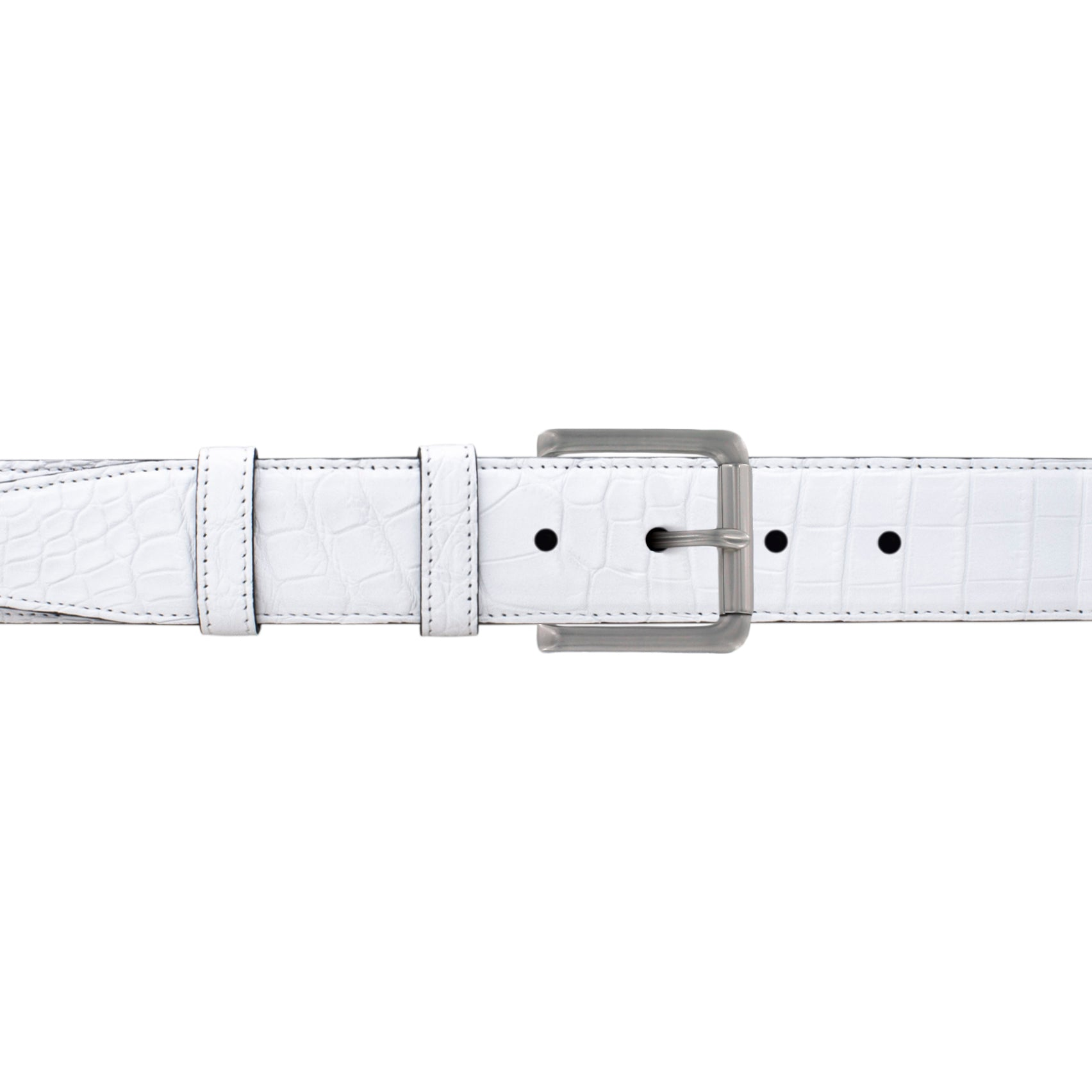 "1 1/2"" White Classic Belt with Austin Casual Buckle in Matt Nickel"