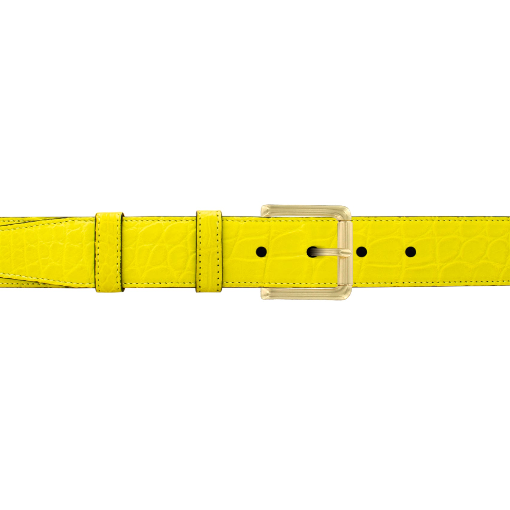 "1 1/4"" Canary Seasonal Belt with Austin Casual Buckle in Brass"