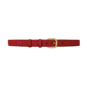 "1 1/4"" Cherry Seasonal Belt with Oxford Cocktail Buckle in Brass"