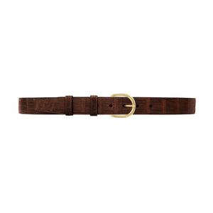 "1 1/4"" Cognac Classic Belt with Denver Casual Buckle in Brass"