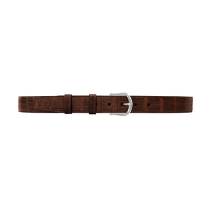 "1 1/4"" Cognac Classic Belt with Derby Cocktail Buckle in Polished Nickel"