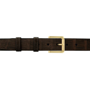 "1 1/4"" Espresso Classic Belt with Austin Casual Buckle in Brass"