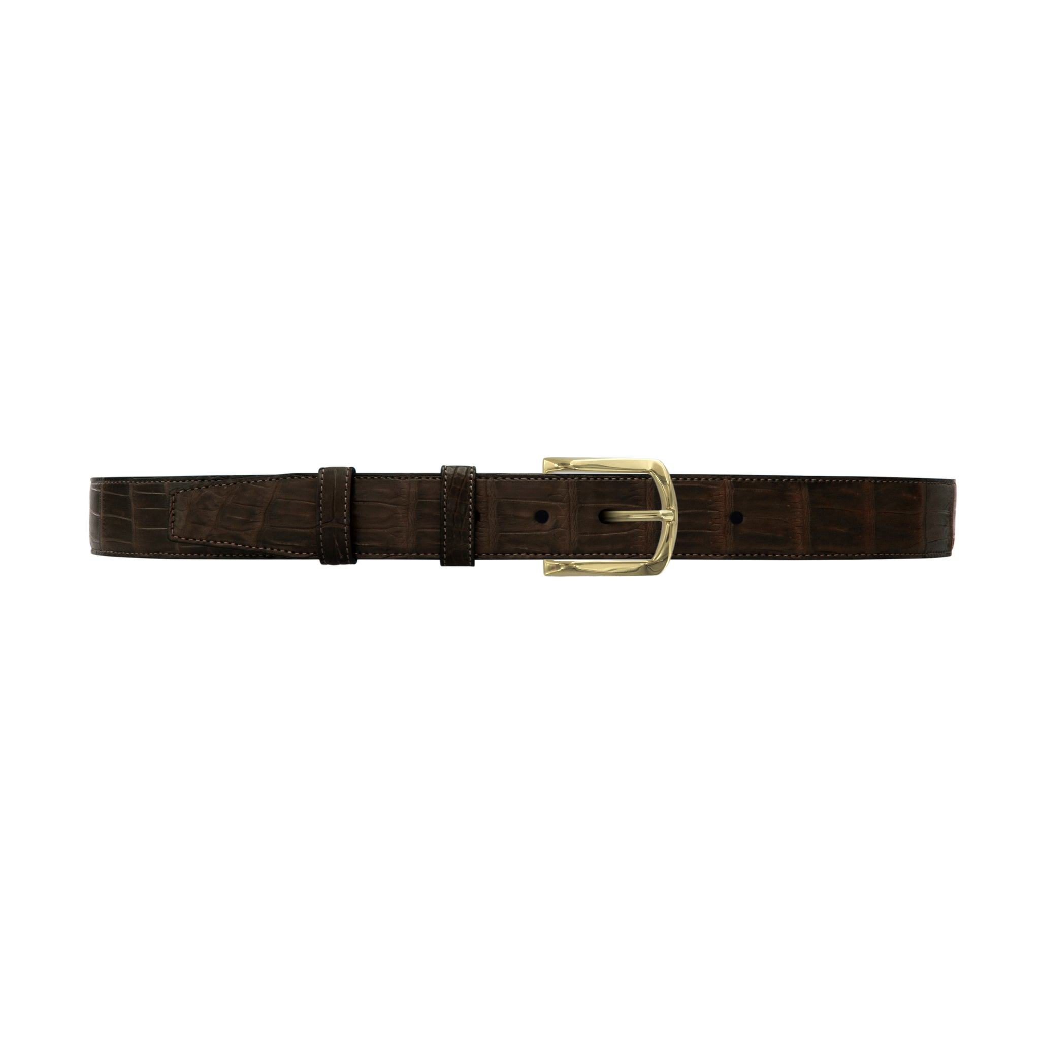 "1 1/4"" Espresso Classic Belt with Sutton Dress Buckle in Brass"