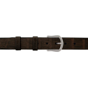 "1 1/4"" Espresso Classic Belt with Derby Cocktail Buckle in Matt Nickel"