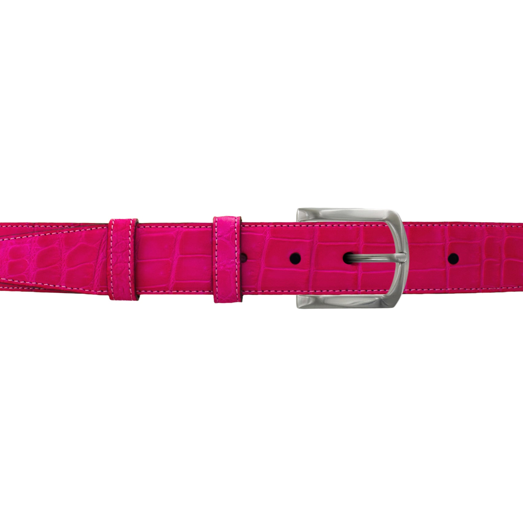 "1 1/4"" Fuchsia Seasonal Belt with Winston Dress Buckle in Matt Nickel"