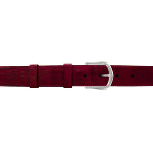 "1 1/4"" Garnet Seasonal Belt with Derby Cocktail Buckle in Polished Nickel"
