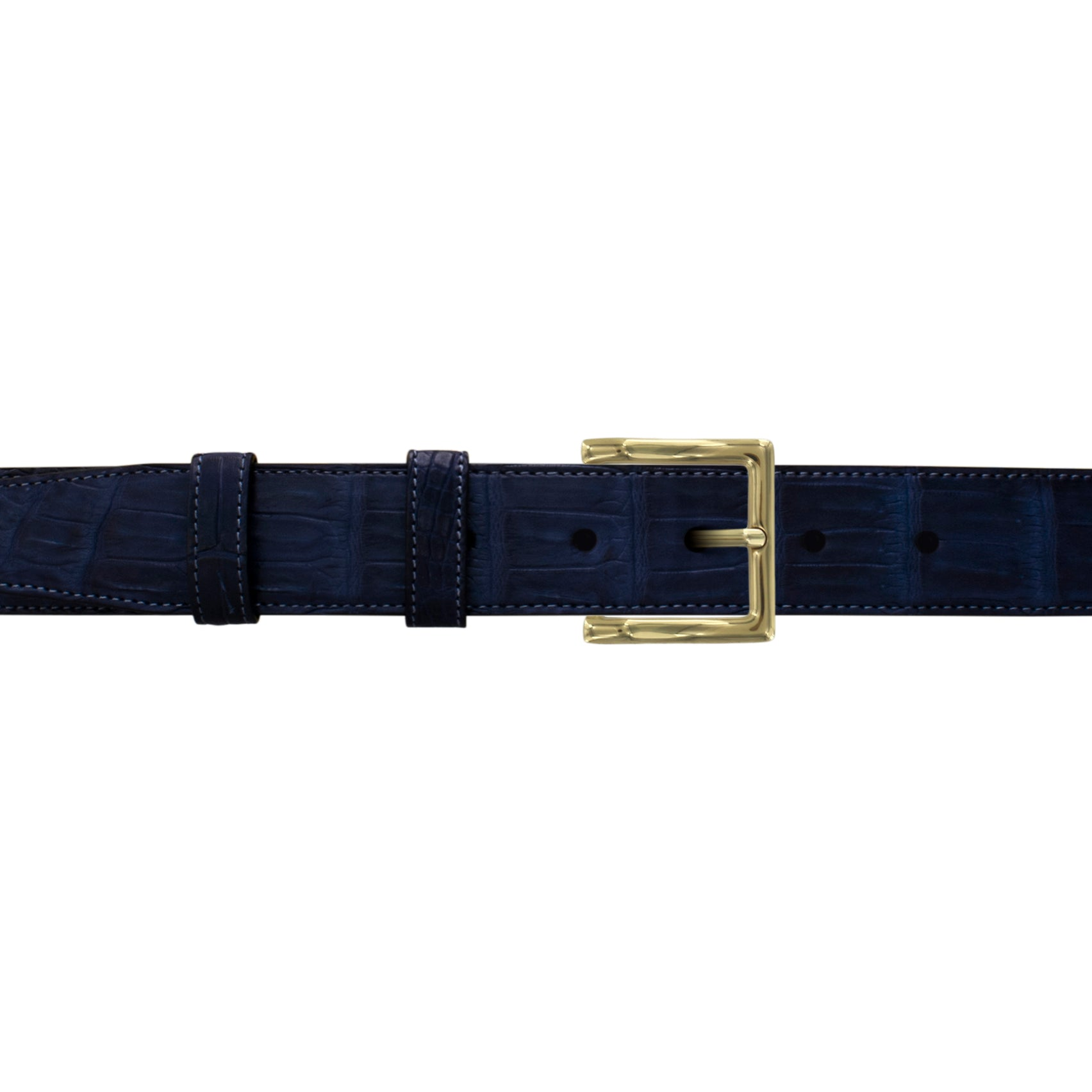 "1 1/4"" Midnight Classic Belt with Regis Dress Buckle in Brass"