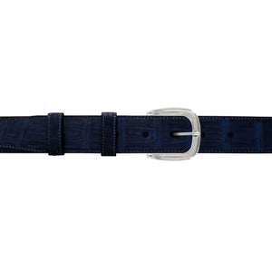 "1 1/4"" Midnight Classic Belt with Oxford Cocktail Buckle in Polished Nickel"