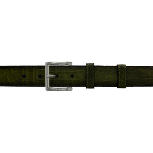 "1 1/4"" Olive Patina Belt with Regis Dress Buckle in Matt Nickel"