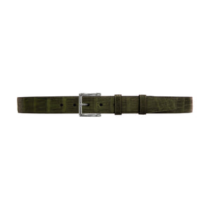 "1 1/4"" Olive Seasonal Belt With Regis Dress Buckle in Polished Nickel"