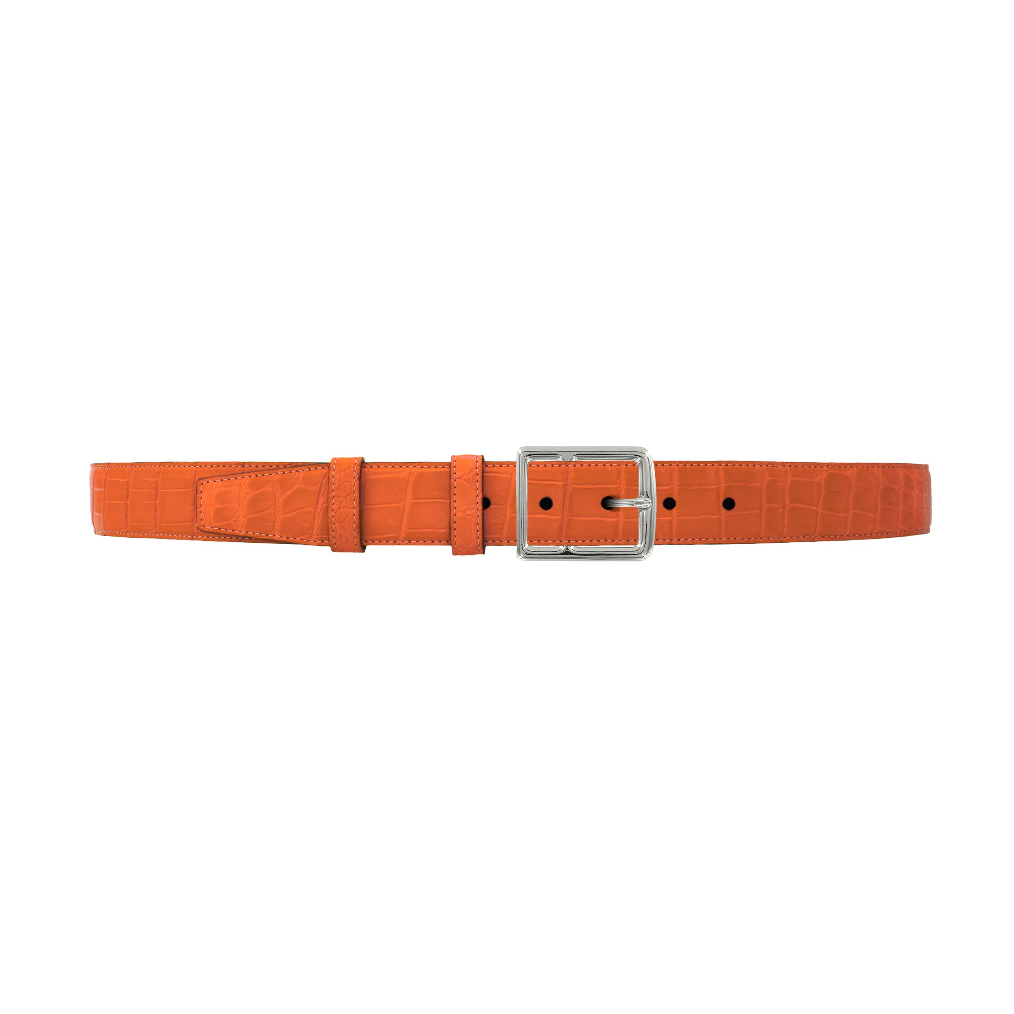 "1 1/4"" Orange Seasonal Belt with Crawford Casual Buckle in Polished Nickel"